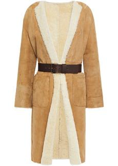 Ba&sh Woman Lyam Belted Shearling Coat Sand
