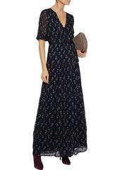Ba&sh Woman Madona Fil Coupé Silk-blend Gauze Maxi Wrap Dress Midnight Blue