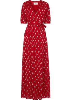 Ba&sh Woman Madona Fil Coupé Silk-blend Gauze Maxi Wrap Dress Red