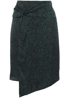 Ba&sh Woman Marina Wrap-effect Twist-front Floral-print Crepe Skirt Black