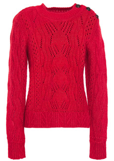 Ba&sh Woman Numa Cable-knit Cotton Mohair And Silk-blend Sweater Red