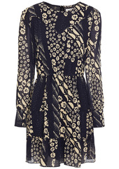 Ba&sh Woman Ophe Gathered Floral-print Georgette Mini Dress Midnight Blue