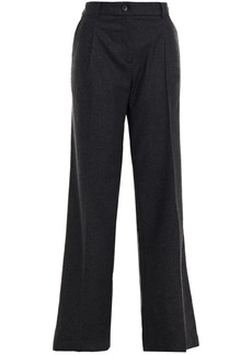 Ba&sh Woman Paline Pleated Wool-blend Wide-leg Pants Charcoal