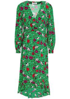 Ba&sh Woman Paloma Wrap-effect Floral-print Crepe Dress Green