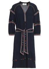 Ba&sh Woman Patty Belted Embroidered Crepe De Chine Dress Midnight Blue