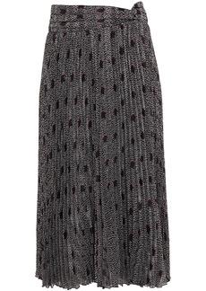 Ba&sh Woman Pichu Pleated Printed Jacquard Midi Skirt Black