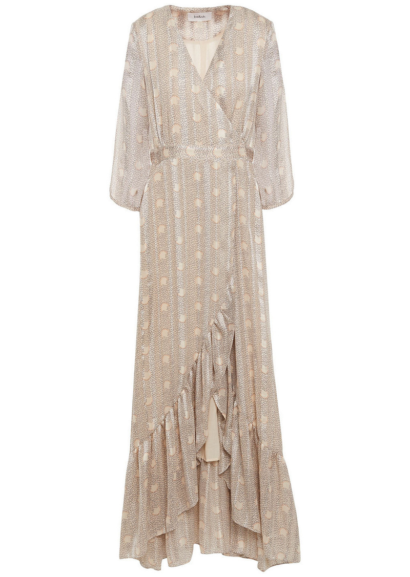 Ba&sh Woman Pisy Printed Metallic Jacquard Maxi Wrap Dress Beige