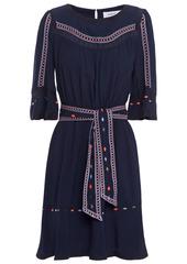 Ba&sh Woman Plaza Belted Crepe De Chine Mini Dress Midnight Blue