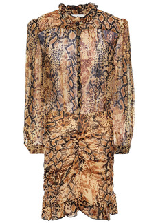 Ba&sh Woman Rackel Ruched Snake-print Georgette Mini Dress Animal Print