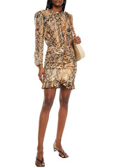 Ba&sh Woman Rackel Ruched Snake-print Georgette Mini Dress Animal Print