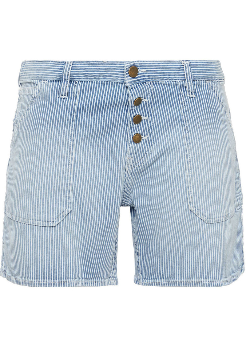 Ba&sh Woman Raja Striped Denim Shorts Light Blue