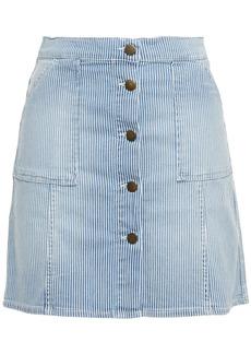 Ba&sh Woman Rita Striped Denim Mini Skirt Light Denim