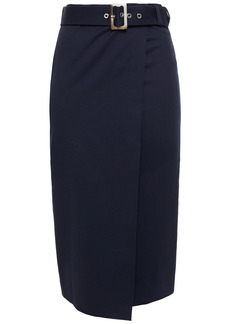 Ba&sh Woman Rosilie Wrap-effect Belted Cotton-blend Twill Midi Skirt Navy