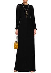 Ba&sh Woman Ruffled Crochet-knit Maxi Dress Black