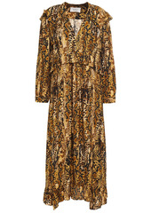 Ba&sh Woman Sahara Ruffled Snake-jacquard Midi Dress Animal Print