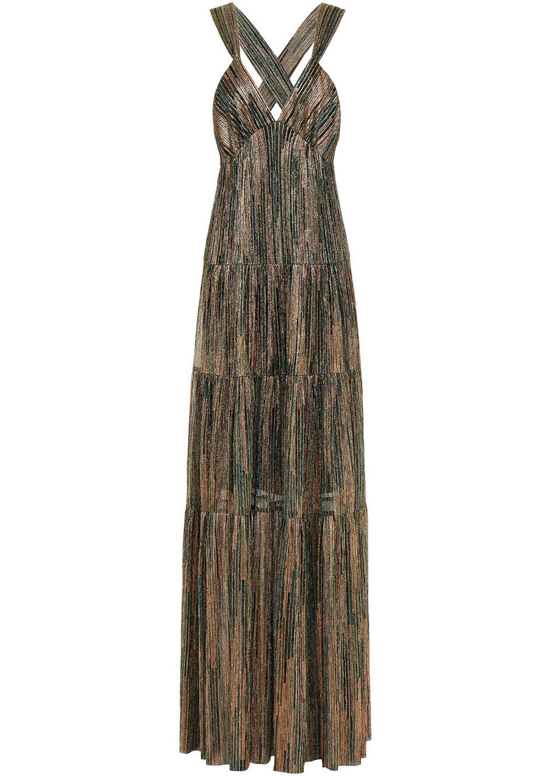 Ba&sh Woman Gathered Metallic Jersey Dress Brass