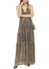 Ba&sh Woman Gathered Metallic Jersey Dress Brass