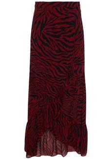 Ba&sh Woman Salvi Ruffled Zebra-print Georgette Wrap Skirt Claret