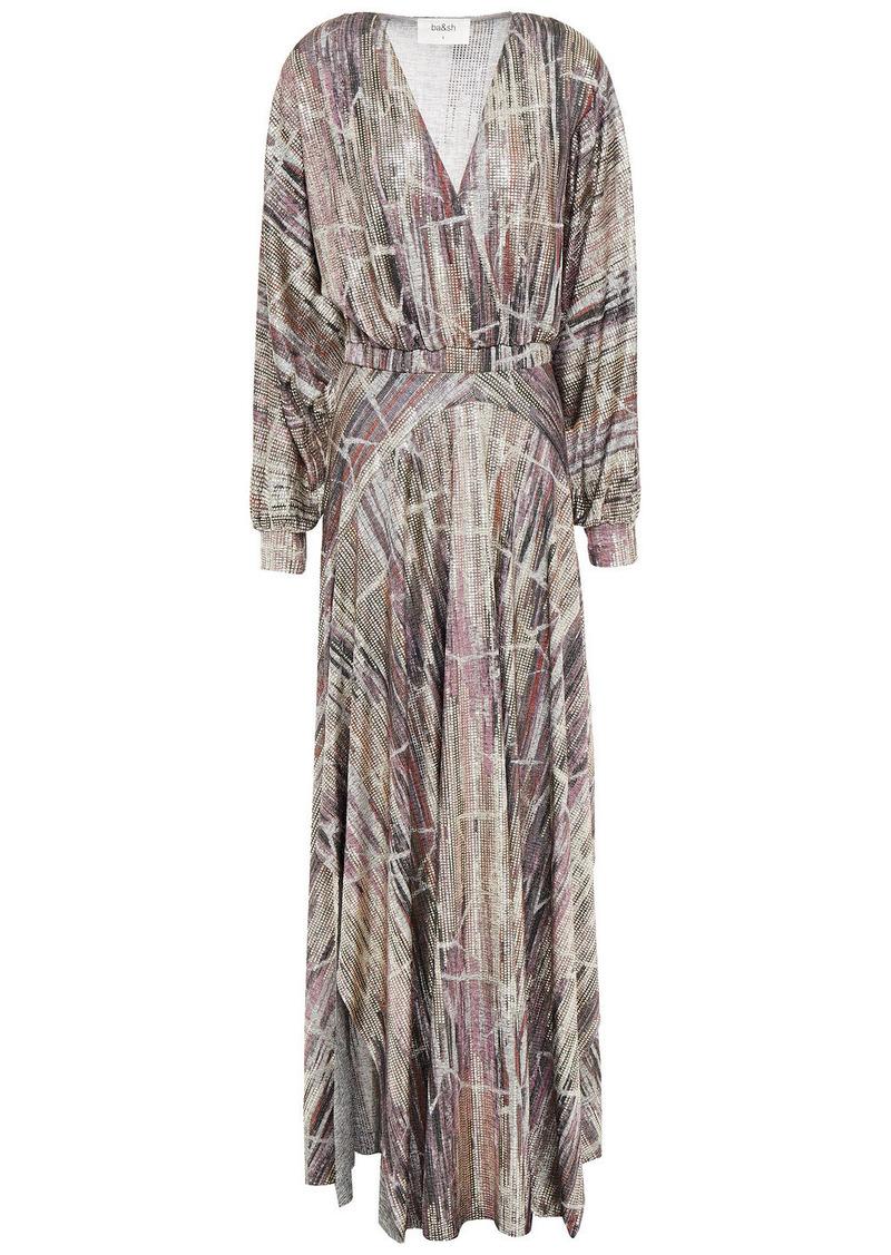 Ba&sh Woman Santana Metallic Printed Knitted Maxi Dress Light Gray