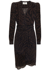 Ba&sh Woman Saphir Wrap-effect Tiger-print Georgette Dress Dark Brown