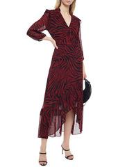 Ba&sh Woman Selena Asymmetric Zebra-print Georgette Wrap Dress Dark Brown