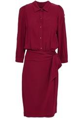 Ba&sh Woman Soho Wrap-effect Textured-crepe Shirt Dress Plum
