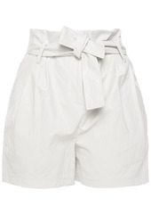 Ba&sh Woman Pleated Faux Leather Shorts Off-white