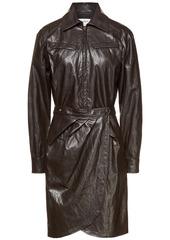 Ba&sh Woman Sophia Wrap-effect Crinkled Faux Leather Dress Dark Brown