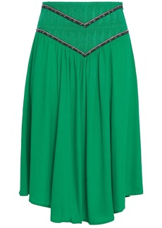 Ba&sh Woman Talo Shirred Embroidered Crepe De Chine Skirt Green