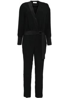 Ba&sh Woman Venise Wrap-effect Satin-trimmed Crepe Jumpsuit Black