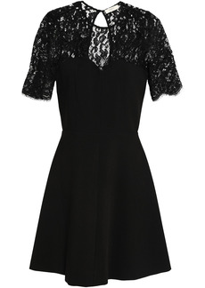 Ba&sh Woman Verlaine Leavers Lace-paneled Crepe Mini Dress Black