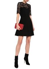 Ba&sh Woman Verlaine Leavers Lace-paneled Crepe Mini Dress Black