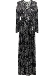 Ba&sh Woman Vianca Wrap-effect Printed Lamé Maxi Dress Black