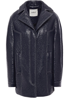 Ba&sh Woman Volupia Crinkled Glossed Faux Leather Jacket Midnight Blue