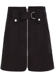 Ba&sh Woman Walter Belted Zip-detailed Stretch-cotton Twill Mini Skirt Black