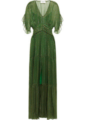 Ba&sh Woman Wanda Shirred Printed Metallic Georgette Maxi Dress Leaf Green