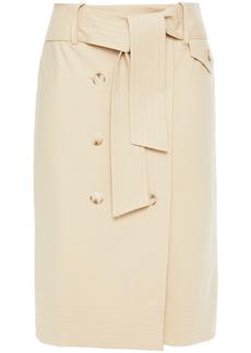 Ba&sh Woman Week Belted Button-detailed Stretch-cotton Pencil Skirt Beige
