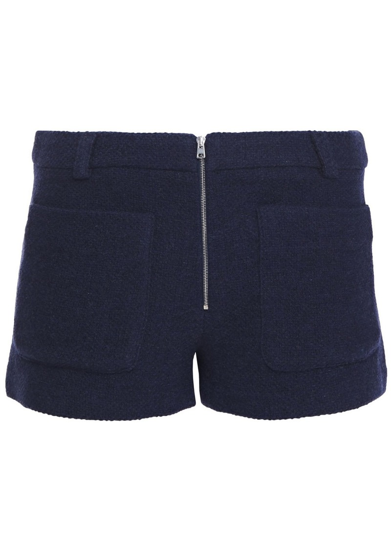Ba&sh Woman Wind Cotton-blend Bouclé-tweed Shorts Navy