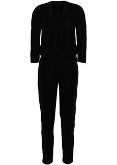 Ba&sh Woman Wrap-effect Gathered Velvet Jumpsuit Black