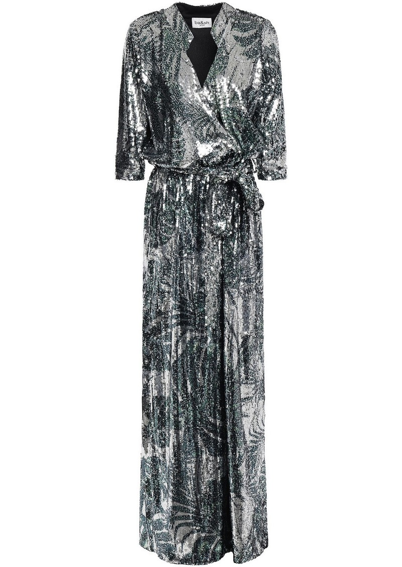 Ba&sh Woman Wrap-effect Printed Sequined Mesh Gown Silver