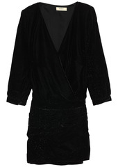 Ba&sh Woman Wrap-effect Velvet Mini Dress Black