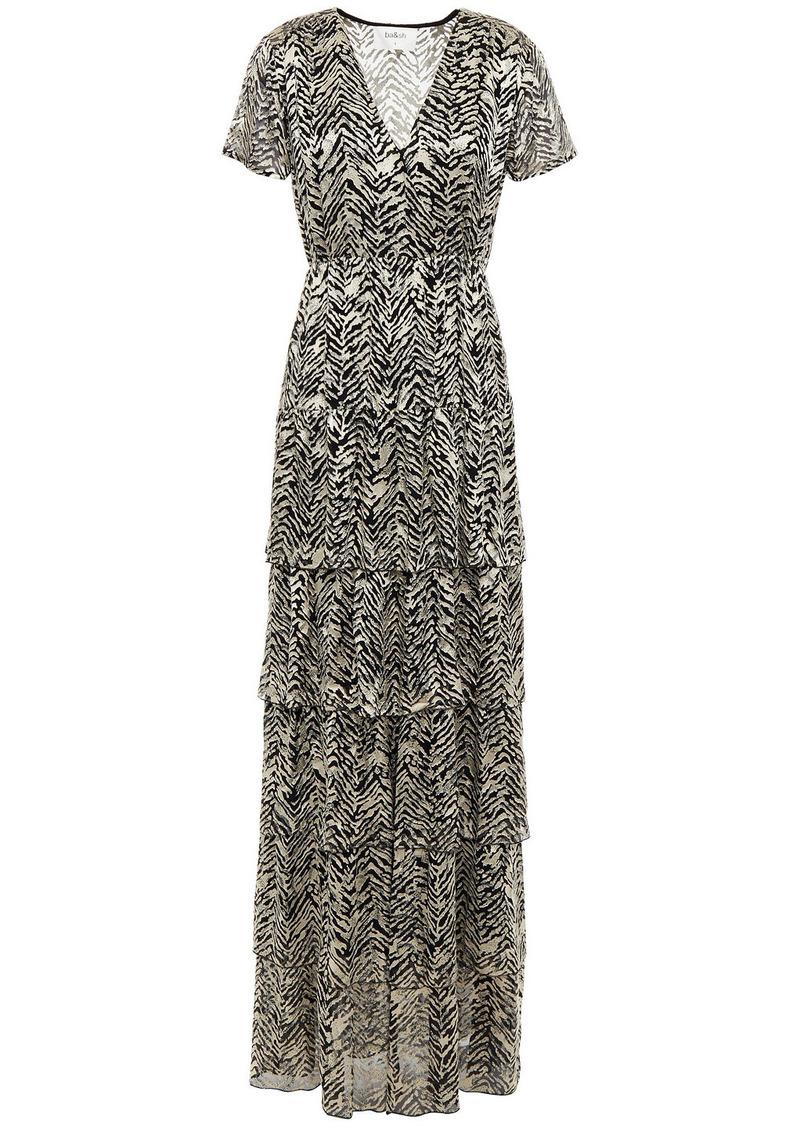 Ba&sh Woman Zelie Tiered Wrap-effect Burnout Satin Maxi Dress Animal Print