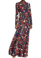 ba&sh Cora Floral Pleated Skirt Maxi Shirt Dress