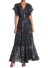 ba&sh Gemm Foil Design Silk Blend Flutter Sleeve Maxi Dress