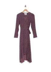 ba&sh Gin Long Sleeve Wrap Midi Dress