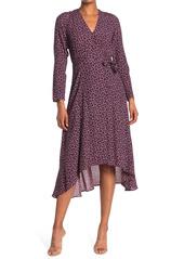 ba&sh Gin Long Sleeve Wrap Midi Dress