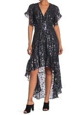 ba&sh Grac  Foil Design Silk Blend Flutter Sleeve High/Low Dress
