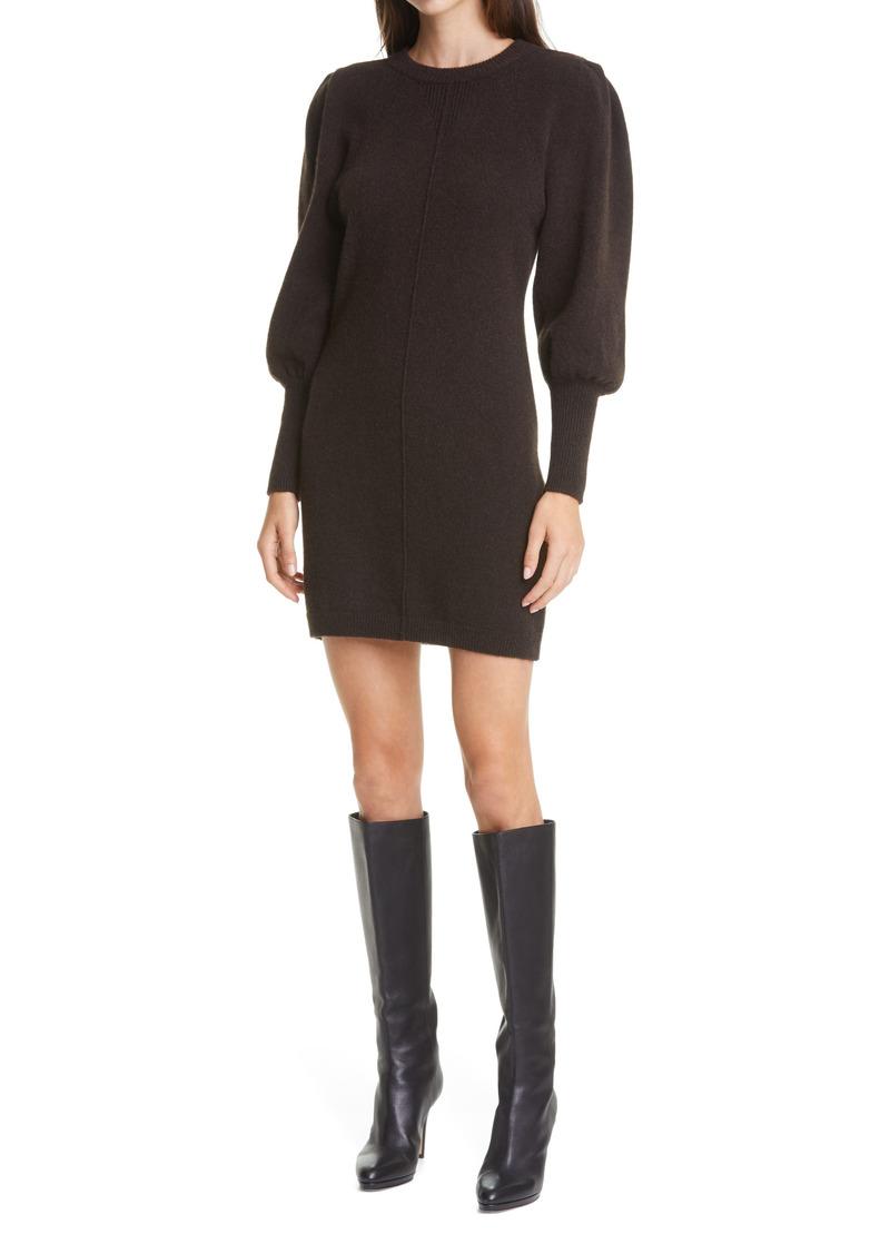 ba&sh Nancy Long Sleeve Wool Blend Sweater Dress