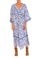 ba&sh Plunge Neck Patterned Maxi Dress