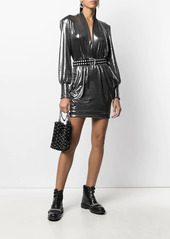 ba&sh plunging V-neck metallic sheen dress